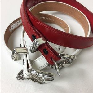 Nocona White and Red Leather Belts